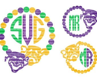 Mardi Gras SVG Monogram Frame SVG Files For Cricut SVG Files For Silhouette Printable Iron-On Transfer Commercial Use Clipart Stencil