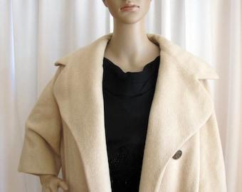 1950's Bonwit Teller Wool Ecru Swing Clutch Coat, Women's Medium, Bonwit Teller, Swing Coat, Clutch Coat, Evening Coat, Swing, Rockabilly