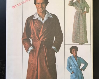 "1976 men size Small chest 34""-36"", Jiffy Front Wrap Robe with pocket, cuffs, belt, simplicity pattern & instructions #7741"
