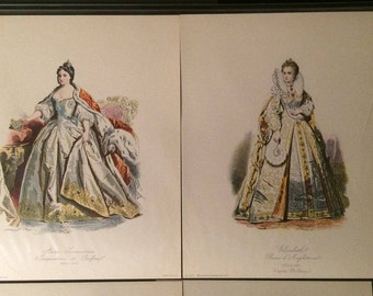 Hand Colored French Fashion Plate Prints of Royals by Holbien and Pauquet - Engraving Paris Fashion Magazine Prints