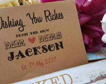 Personalised Lotto Wedding Favour Envelopes - 2 x Styles/colours