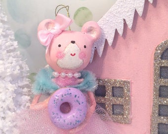 Christmas ornament pastel holiday pink bear with doughnut candy theme christmas bear ornament vintage retro inspired art doll