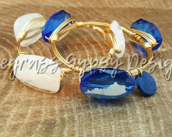 University of Kentucky Bangle Set, blue Wire Wrapped Bangle, UK Bracelet, Bourbon and Boweties Inspired