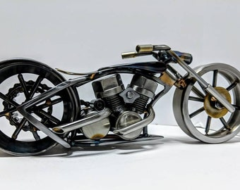 Metal chopper motorcycle sculpture, scrap art