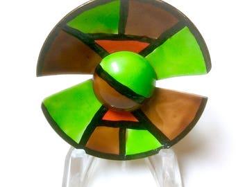 Vintage Signed ORIGINAL by ROBERT Enamel Modern Circle Pin Brooch Green Brown and Orange