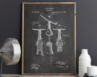 Corkscrew Decor, Wine Tools Art, Wine Art Poster, Wine Wall Print, Wine Bar Art, Wine Lover Art, Wine Poster,Enoteca Decor, INSTANT DOWNLOAD