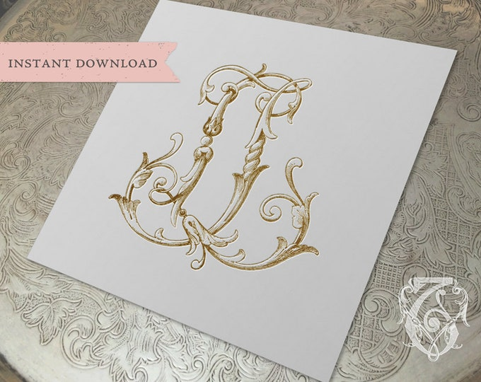 Vintage Wedding Monogram JL LJ Digital Download J L