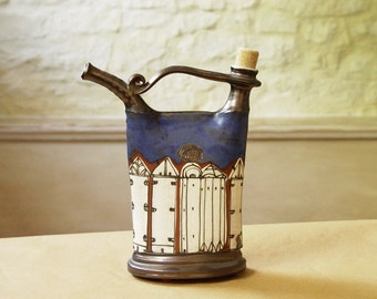 Handmade Blue Pottery Pitcher, Ceramics and Pottery Bottle. Ceramic pitcher. Handcrafted ceramic bottle, Wheel thrown pottery, Danko Pottery