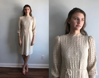 vintage Cream Knit Dress, Tricot de Paris, Vintage 1960s Dress, 1960s Dress, Casual Knit Dress, Knit Dress, Dress