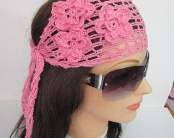 Pink Lace Women Headband, Pink Summer Head bands, Women Lace Head wrap, Head Bands for Women, Bridesmaid hair accessories