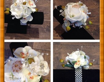 Artificial Orchid and rose wrist  corsage bracelet