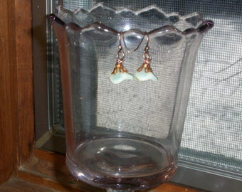 Earrings Ice Green Lily Glass Picasso Flower Drop Wire Copper
