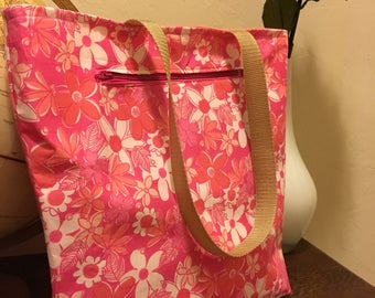 CLEARANCE Floral lined market tote or book bag with front zipper