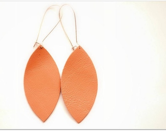 Genuine Leather Salmon Toned Petals Earrings on Big Silver Finish Long Drop Kidney Earhooks