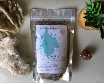 Cold+Flu therapeutic bath salts // bath soak // herbal bath // floral bath // bath tea // gifts for her // net wt 15 oz