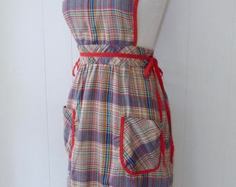 70's Softest Plaid Thin Flannel Cotton Dress Pinafore Side Tie Oops California Hippy Boho Pocket Overall Jumper M