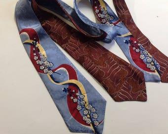 2 vintage mens neckties