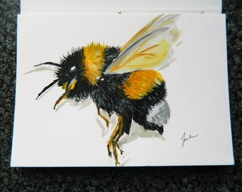 Fuzzy Buzzy Bumble Bee Painting on Acrylic Paper