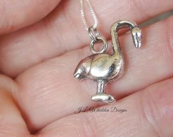 Flamingo Gift - Flamingo Necklace - Flamingo Pendant - Silver Flamingo Necklace -Animal Necklace