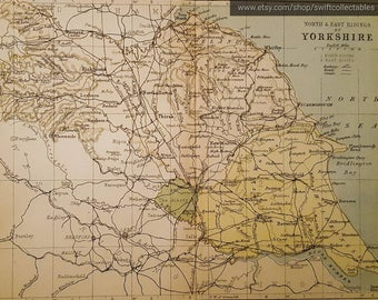 Victorian map etsy 1882 northeast riding of yorkshire map antique map england english county gumiabroncs Image collections