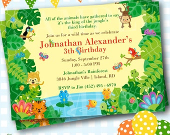 Rainforest invites etsy quick view jungle invitations stopboris Choice Image