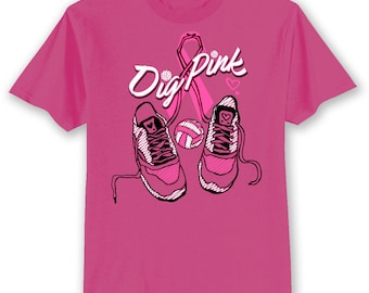 BCA DIG PINK Breast Cancer Awareness Volleyball Shoes Ribbon Pink T Shirt