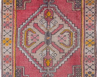 "Turkish rug, Vintage bohemian, Pinkish red,  Handmade Wool Rug, 3'6"" x 4'2"""