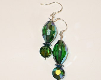 Blue-green multi-faceted crystal drop earring.