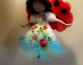 Needle felted fairy,Waldorf inspired, Fairy fields, Ladybug, Wool Fairy, Art doll, Felted doll, Gift, Mobile, Home decor, Wool ornament