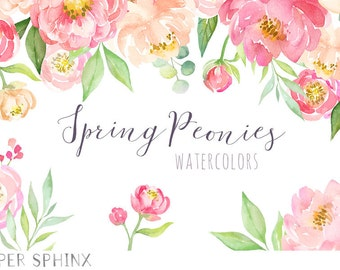 Watercolor Peonies Clipart | Spring Wedding Flowers - Coral and Blush Florals - Wedding Invitation Clip Art - Instant Download PNGs