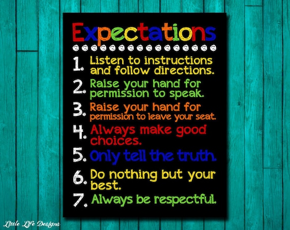 Classroom Rules Decor ~ Items similar to classroom expectations rules