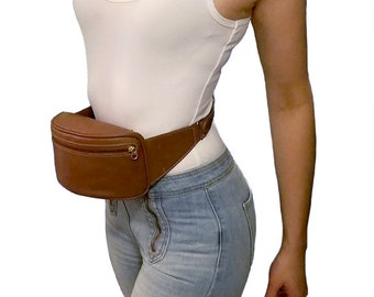 MINT! COACH Vintage Fanny Pack British Tan Leather Waist Bag Travel Pouch Hip Belt Bag Purse