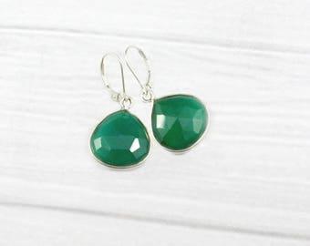 Emerald Earrings, Minimalist Earrings, Stone Earrings, Drop Earrings, Simple Earrings, May Birthstone Jewelry, Minimal, Sterling Silver,gold