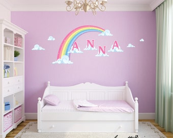Removable and Reusable Bedroom Wall decals,Girls Pink Pastel Rainbow and Name on clouds Fabric Wall Decal