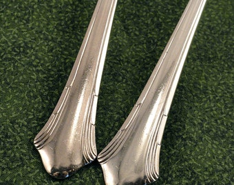 2 Art Deco Serving Spoons Tablespoons Gorham Lady Caroline Vintage 1930 Deco Silverplate Flatware Silver Plate Silverware