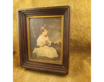 Small Framed Age of Innocence Portrait by Sir Joshua Reynolds Antique Reproduction Print by E. G. Co. – Vintage Home Décor