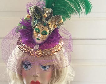 Mardi Gras Fascinator with mask