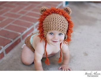 Lion hat crochet pattern NB-5 and up