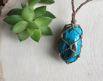 Chrysocolla Healing Crystal Necklace - Handmade Hemp Jewelry - Teal Crystal Pendant Necklace - Hippie Bohemian Style Jewelry - Hemp Wrapped