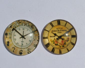 """2 cabochons 25 mm vintage clock theme """"roses"""""""