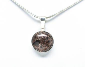Sterling Silver 12mm Copper Firebrick Pendant