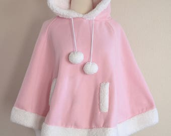 Pink Hooded Poncho Cape - Pink Christmas - Size Small