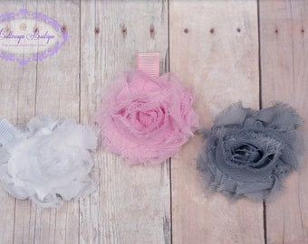 Hair clip, hair bow, baby hair clip, snap clip, flower hair clip, small flower hair clip, set of 3 small shabby chic flower hair clips