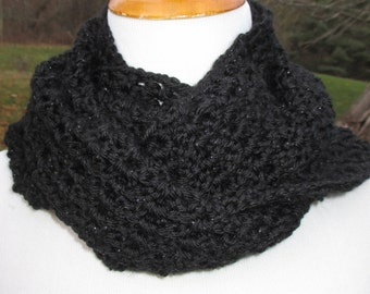 Crocheted Black Cowl / Infinity Scarf  / Eternity Scarf / Hooded Scarf / Neck Warmer