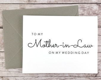To My Mother-in-Law On My Wedding Day Card, Mother Card, Wedding Card, Mother of the Bride, Mother of the Groom  - (FPS0016)