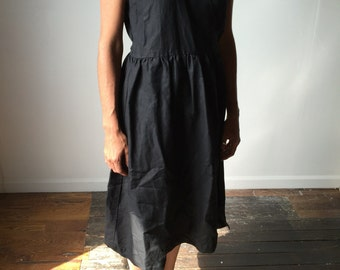 Lavai Maria Handmade Linen Sleeveless  Black Wrap Dress-Made to Order S/M/L