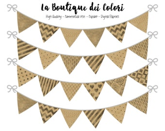 Kraft Paper Bunting Banners Party Flags clipart, Brown Paper pennant banner Clip Art Printable, Personal / Commercial Use. PNG