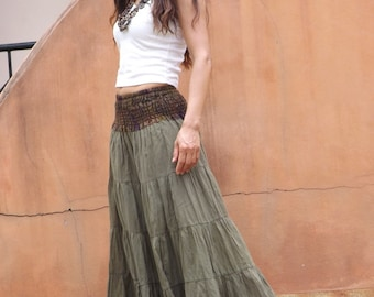 Long Skirt / Maxi Skirt / Long Boho Skirt / Full Length Skirt / Cotton Skirt / Modest Skirt / Plus Size Skirt / Color Seaweed Green