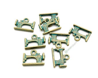 Sewing Machine Charms, 8pc Patina Bronze Charms, 19x15mm
