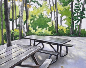 Campsite Art Print, Woodlands Wall Art, 8 x 10 Art Print, Camping Art Print, Nature Art, Picnic Tables, Forest Print, Ontario Parks Art